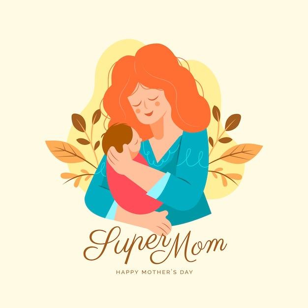 Platte ontwerp moederdag concept Gratis Vector