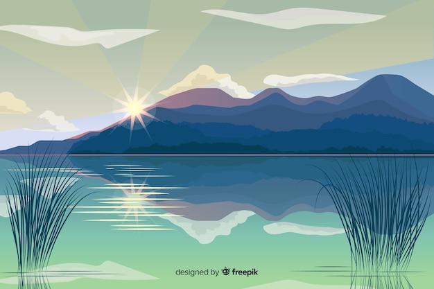 Platte ontwerp natuurlijke landschap-achtergrond Gratis Vector