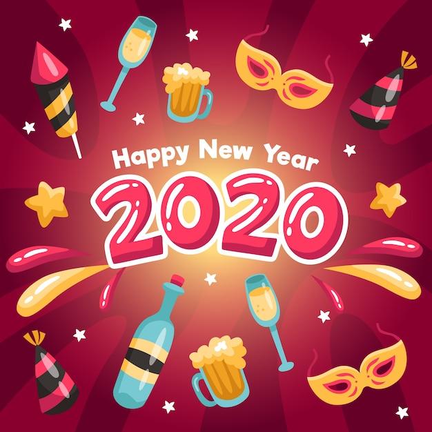 Platte ontwerp nieuw jaar 2020 achtergrond concept Gratis Vector