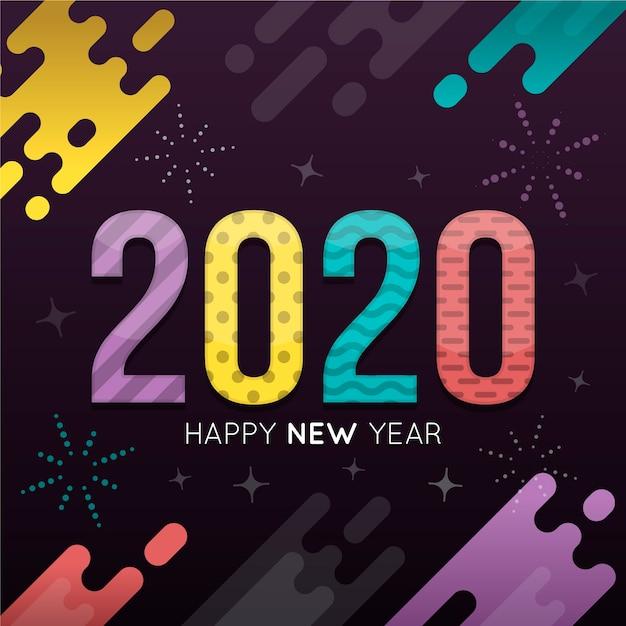 Platte ontwerp nieuw jaar 2020 behang Gratis Vector