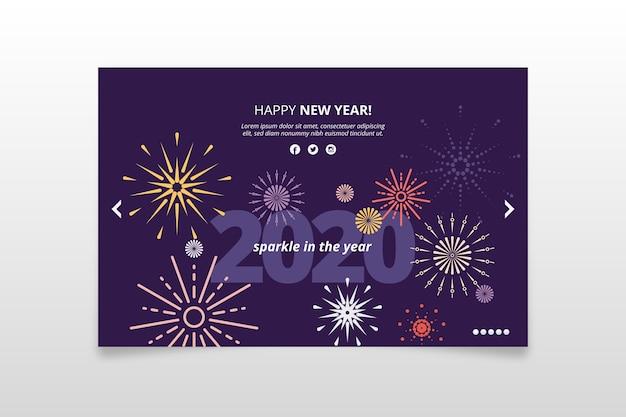 Platte ontwerp nieuwe jaar 2020 achtergrond Gratis Vector
