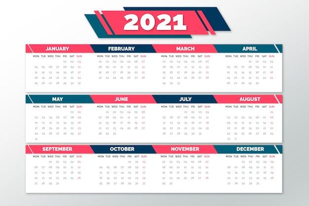 Platte ontwerp nieuwjaar 2021 kalender Premium Vector