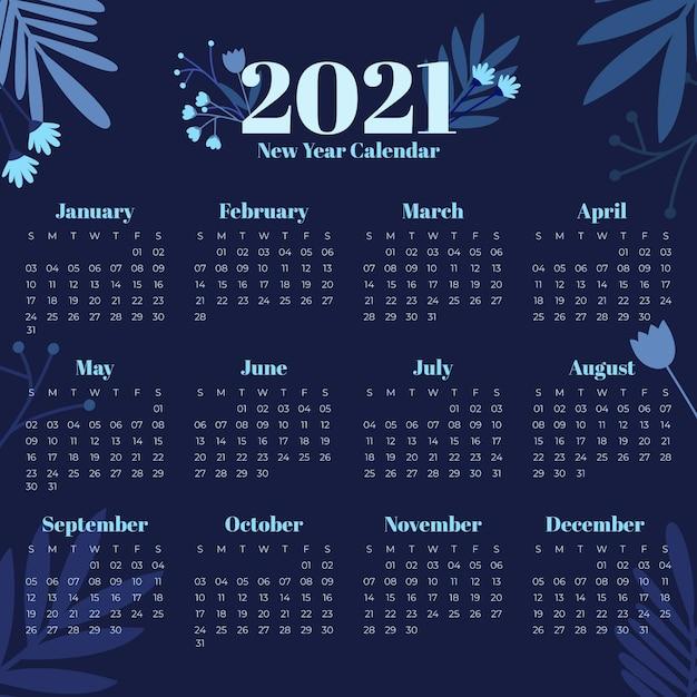 Platte ontwerp nieuwjaar 2021 kalendersjabloon Premium Vector