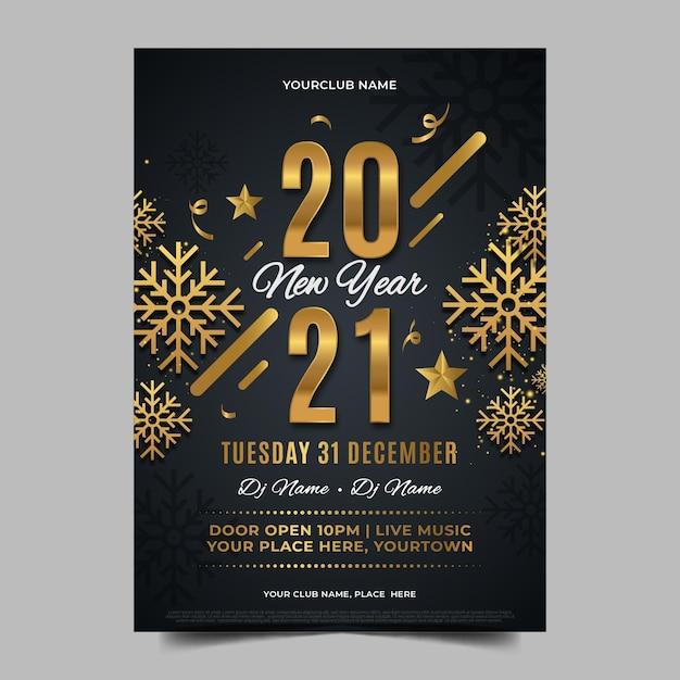 Platte ontwerp nieuwjaar 2021 partij poster sjabloon Premium Vector
