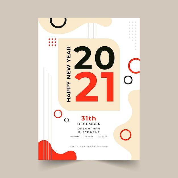 Platte ontwerp nieuwjaar 2021 partij poster sjabloon Gratis Vector