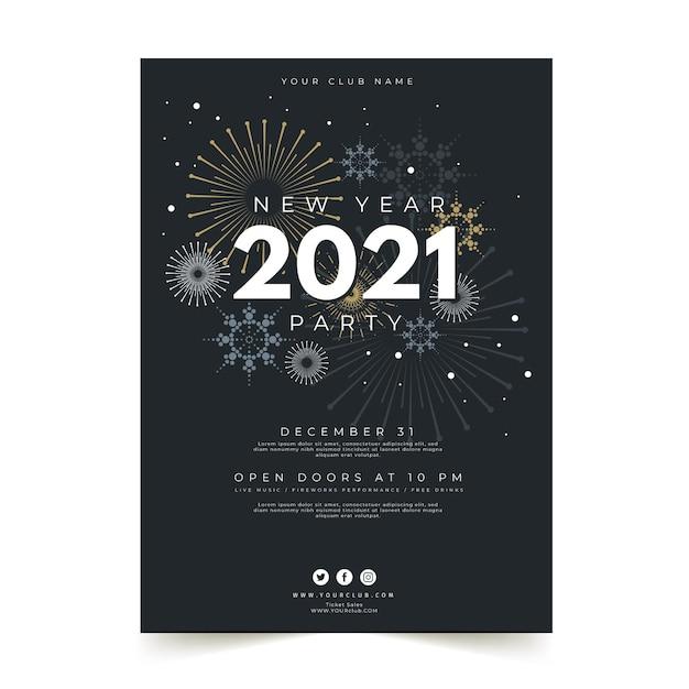 Platte ontwerp nieuwjaarsfeest poster sjabloon Premium Vector