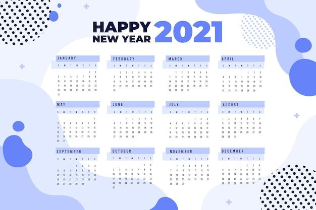 Platte ontwerp nieuwjaarskalender 2021 met gestippelde cirkels Premium Vector
