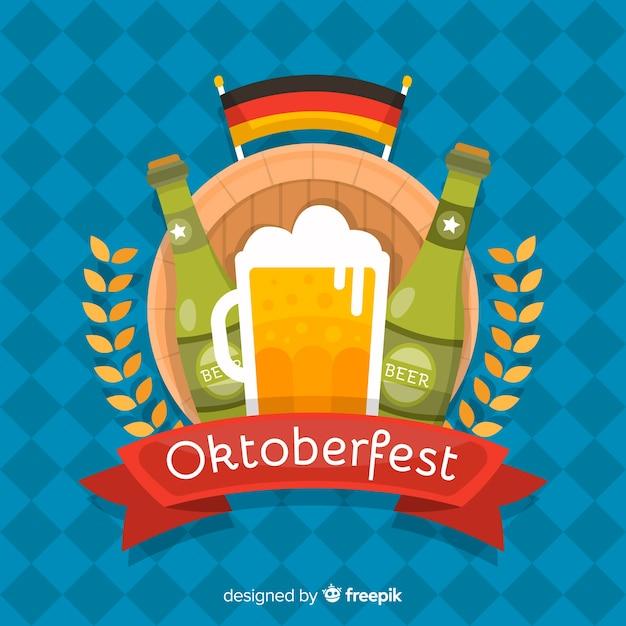 Platte ontwerp oktoberfest achtergrond Gratis Vector