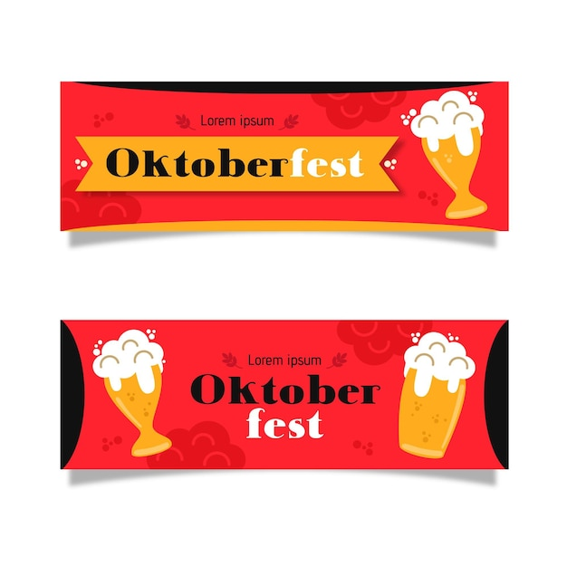 Platte ontwerp oktoberfest banners instellen Gratis Vector