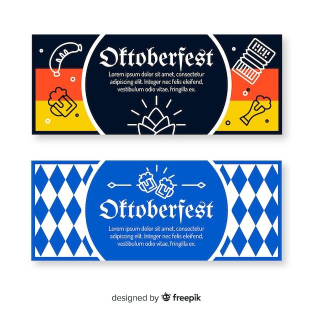 Platte ontwerp oktoberfest banners sjabloon Gratis Vector