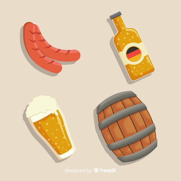 Platte ontwerp oktoberfest element collectie Gratis Vector