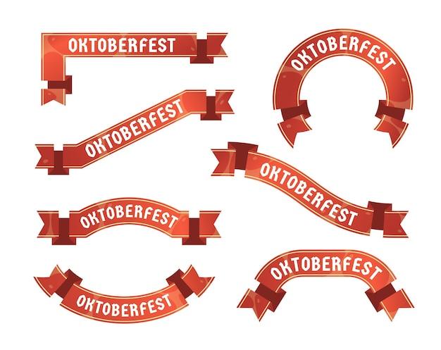 Platte ontwerp oktoberfest linten collectie Gratis Vector