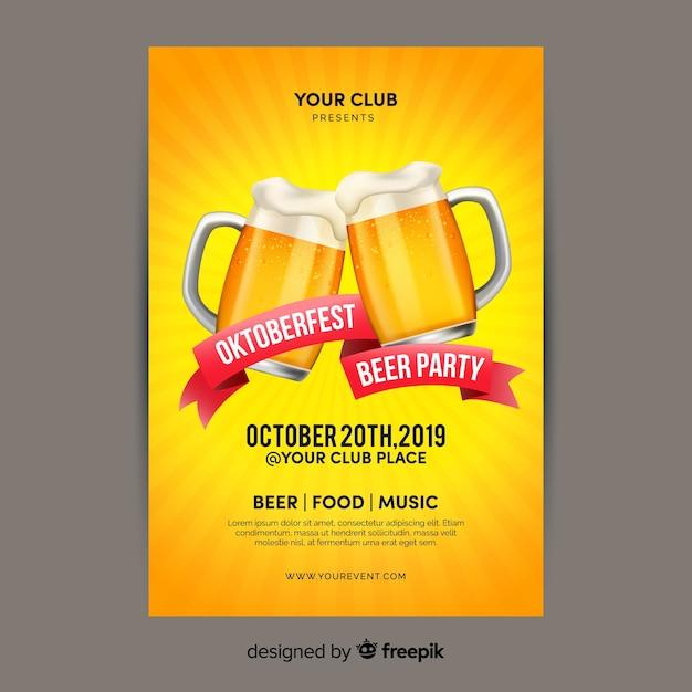 Platte ontwerp oktoberfest met bieren poster sjabloon Gratis Vector