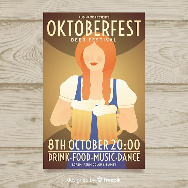 Platte ontwerp oktoberfest poster sjabloon Gratis Vector