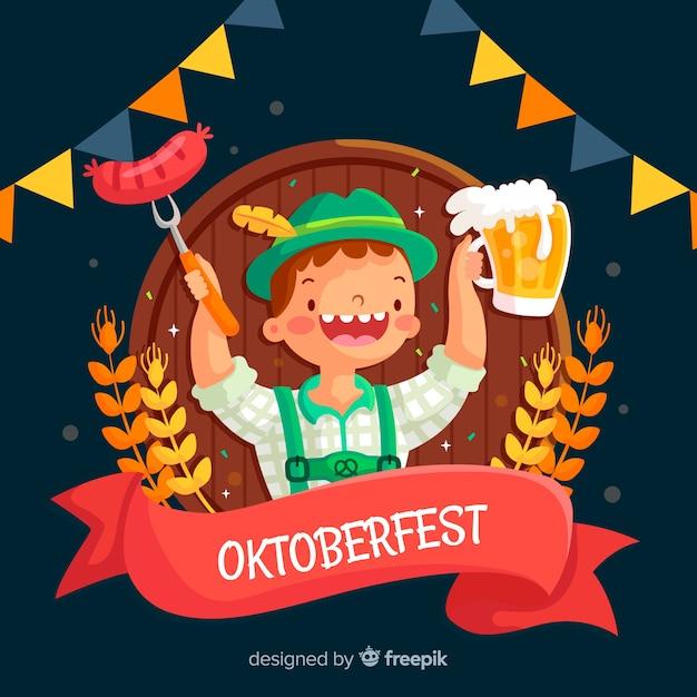 Platte ontwerp oktoberfest tirol met bier Gratis Vector