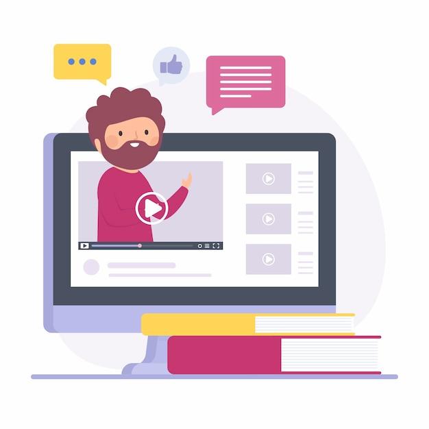 Platte ontwerp online cursus met man Gratis Vector