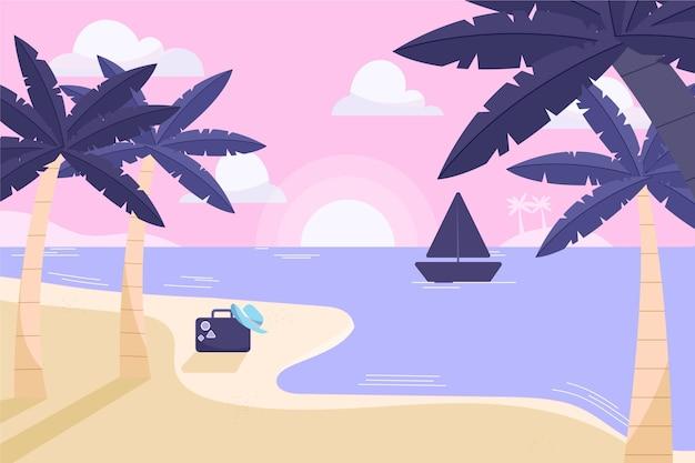Platte ontwerp palmen met boot op water achtergrond Gratis Vector