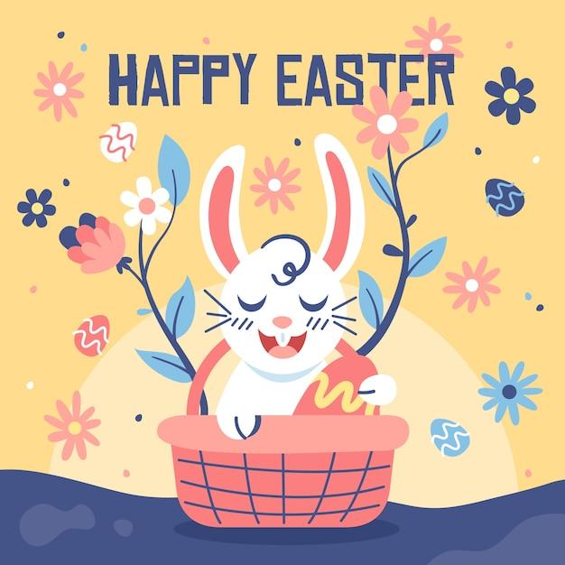 Platte ontwerp pasen dag smiley konijntje in een mand Gratis Vector