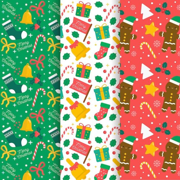 Platte ontwerp patroon kerstcollecte Gratis Vector