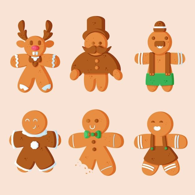 Platte ontwerp peperkoek man cookie-collectie Gratis Vector