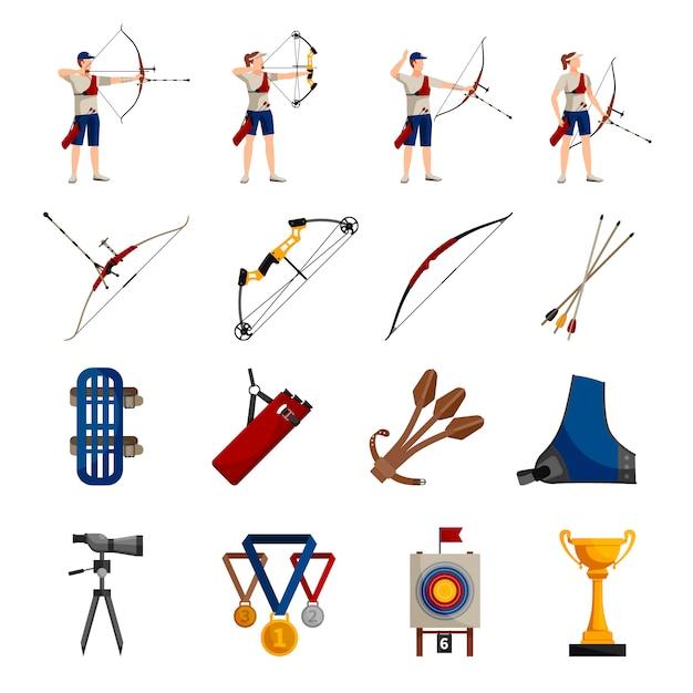 Platte ontwerp pictogrammen instellen met boogschieten spelers verschillende soorten bogen nodig apparatuur Gratis Vector