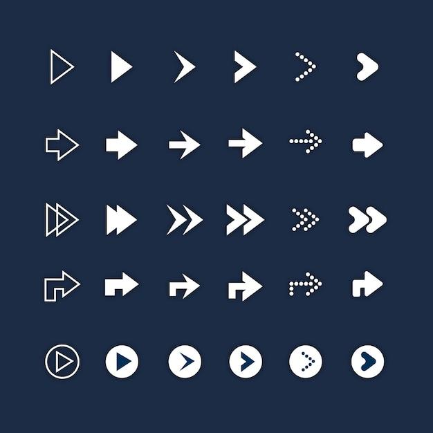 Platte ontwerp pijl-rechts set Gratis Vector