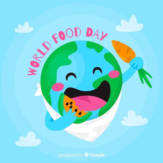 Platte ontwerp planeet aarde eten van een watermeloen Gratis Vector