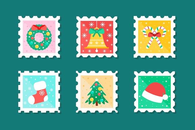 Platte ontwerp postzegel kerstcollecte Gratis Vector
