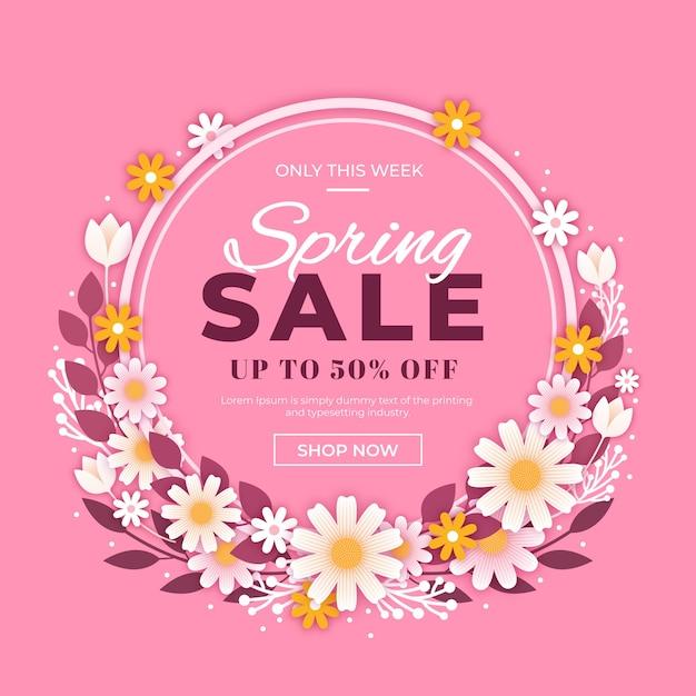 Platte ontwerp promotionele lente verkoop Gratis Vector