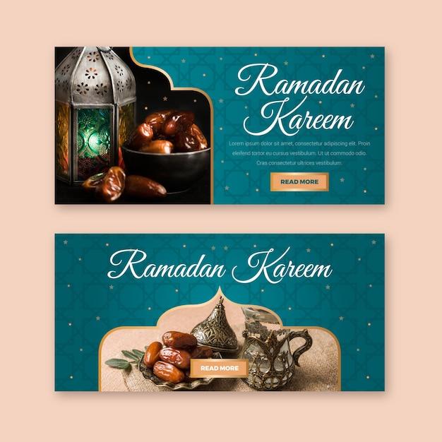 Platte ontwerp ramadan banner sjabloon concept Gratis Vector