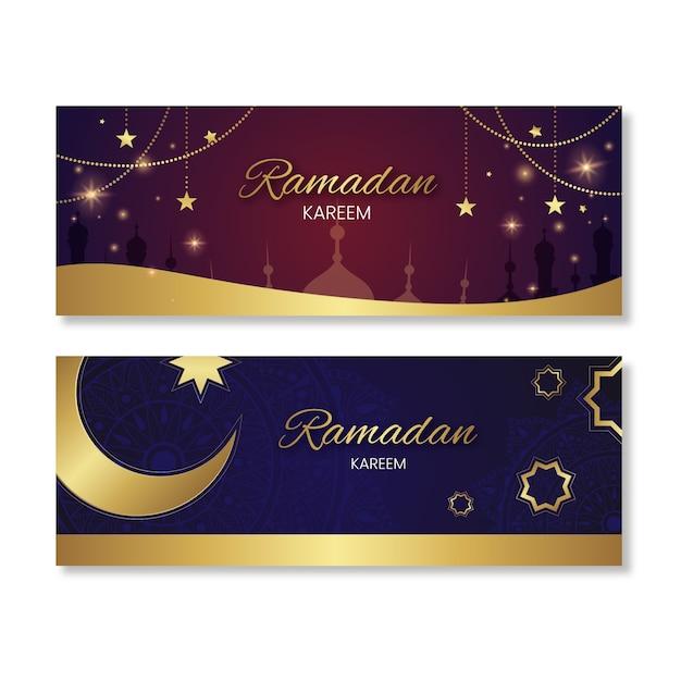 Platte ontwerp ramadan banners Gratis Vector