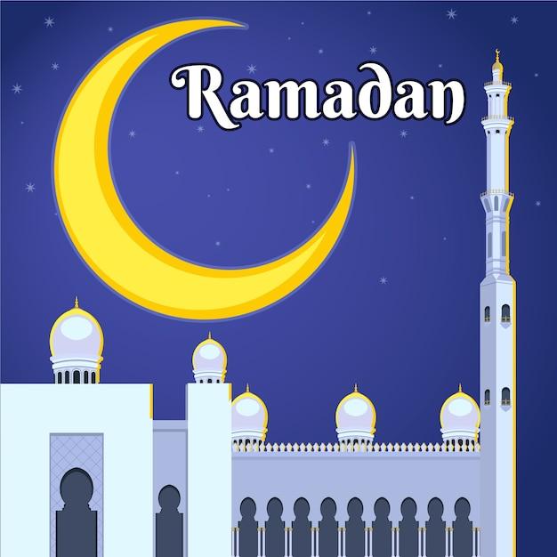Platte ontwerp ramadan concept Gratis Vector