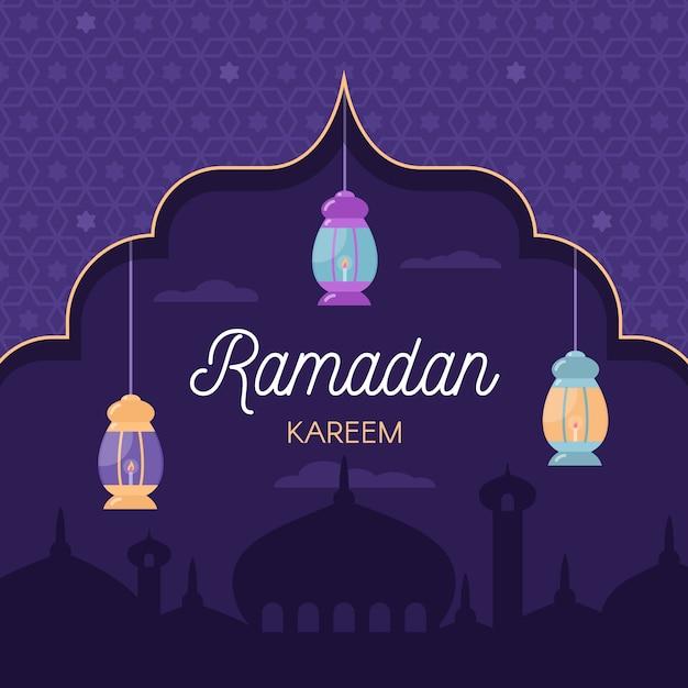 Platte ontwerp ramadan Gratis Vector