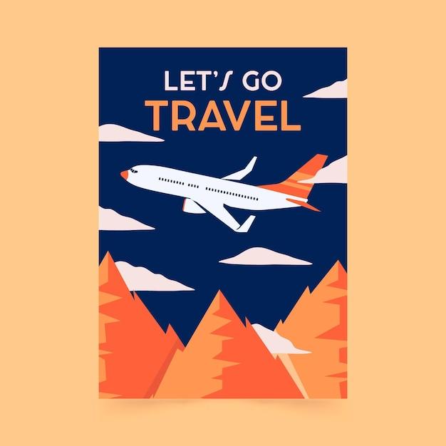 Platte ontwerp reizen poster sjabloon Gratis Vector