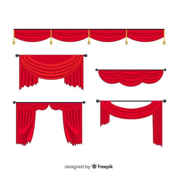 Platte ontwerp rood gordijn collectie design Gratis Vector
