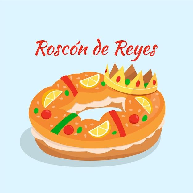 Platte ontwerp roscón de reyes Gratis Vector