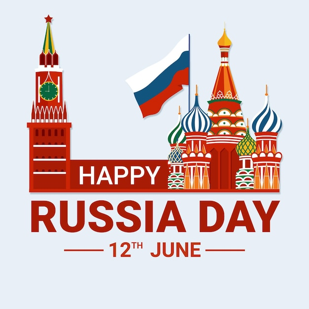 Platte ontwerp rusland dag Gratis Vector