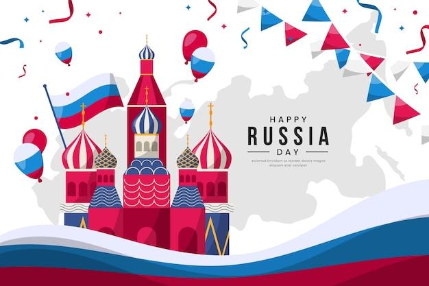 Platte ontwerp rusland dagsjabloon Gratis Vector