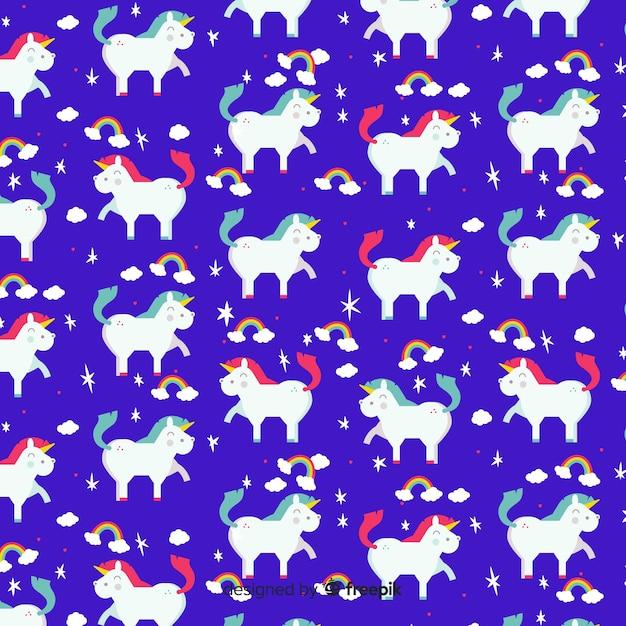 Platte ontwerp schattig eenhoorn patroon Gratis Vector