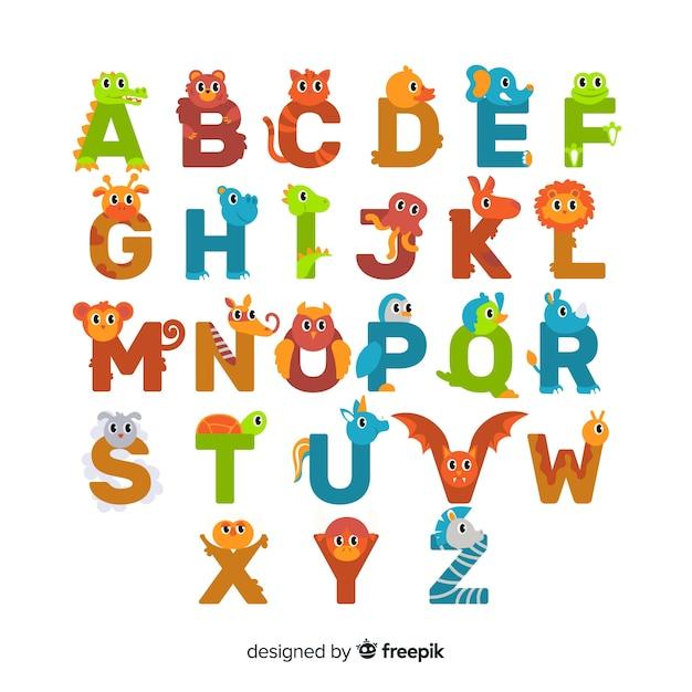Platte ontwerp schattige dieren letters set Gratis Vector