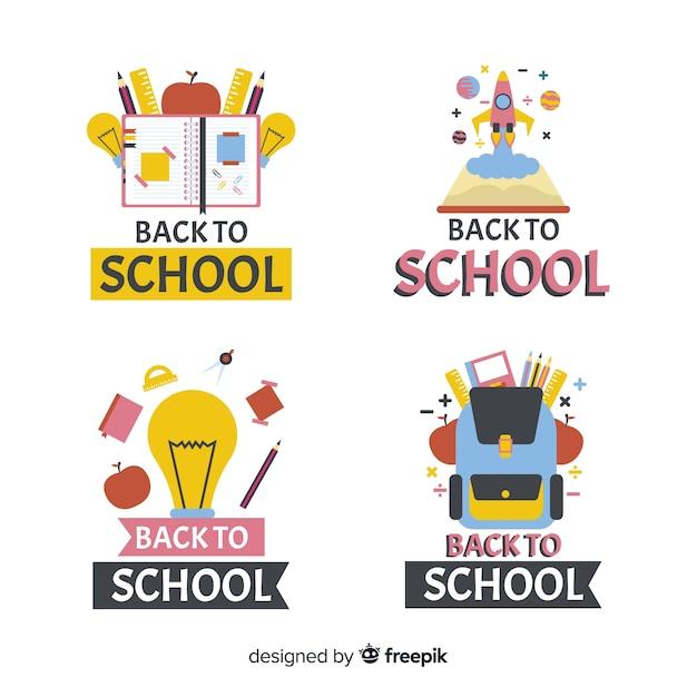 Platte ontwerp school logo collectie Gratis Vector