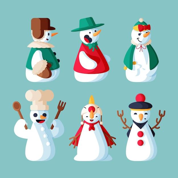 Platte ontwerp sneeuwpop karakter collectie illustratie Gratis Vector