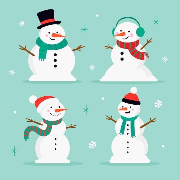 Platte ontwerp sneeuwpop tekenset Gratis Vector