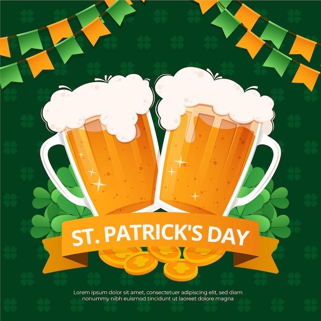 Platte ontwerp st. patrick's day biertjes Gratis Vector