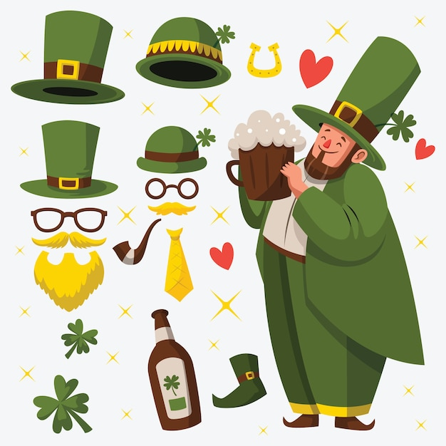 Platte ontwerp st. patricks dag element collectie Gratis Vector