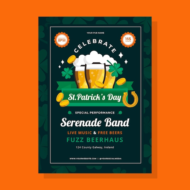 Platte ontwerp st. patricks dag folder sjabloon Gratis Vector