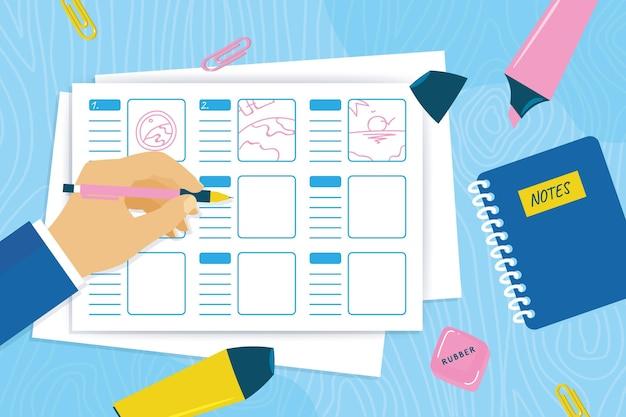 Platte ontwerp storyboard concept met markeerstiften Gratis Vector