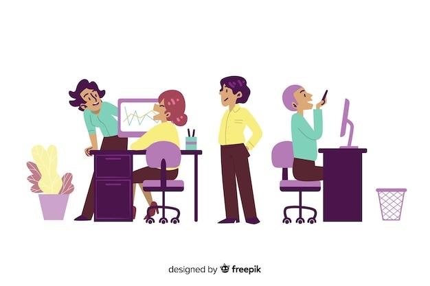 Platte ontwerp tekens chatten op de werkplek Gratis Vector