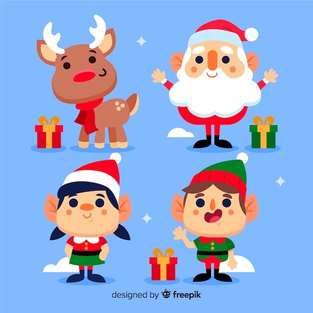 Platte ontwerp tekens kerstcollectie Gratis Vector