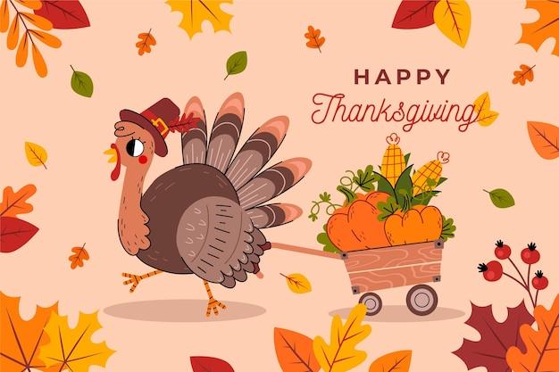 Platte ontwerp thanksgiving achtergrond met kalkoen Gratis Vector
